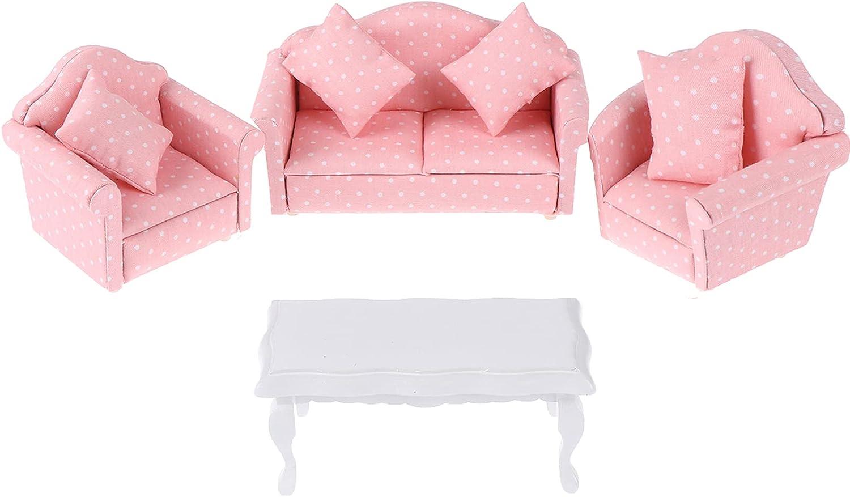 Haomian Dollhouse Furniture Set 3 Pcs 1:12 Dollhouse Miniature Wooden Sofa Cushions Armchair Pillow Kit Dolls House Furniture Couch with 1 Pc Dollhouse Teatable Coffee Table