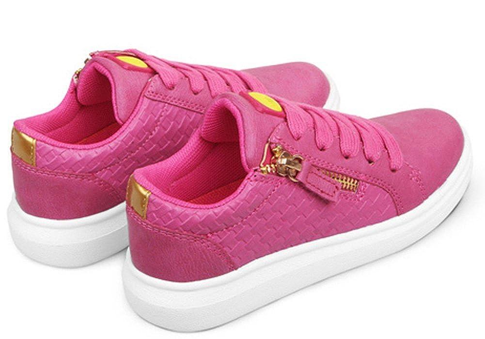 iDuoDuo Girls Fashion Zipper Light Weight Lace up Walking Sneakers Toddler//Little Kid
