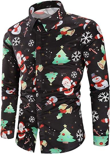 Camisa de Navidad para Hombre 3D Impresas Camisas Novedad Camisa de Manga Larga de Papá Noel Casuales Tops de Navidad Regalo para Adultos: Amazon.es: Ropa y accesorios