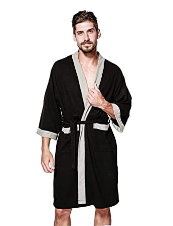 3979d25faf WEEN CHARM Mens Waffle Weave Kimono Robe Cotton Spa Bathrobe Lightweight  Soft Knee Length Sleepwear with