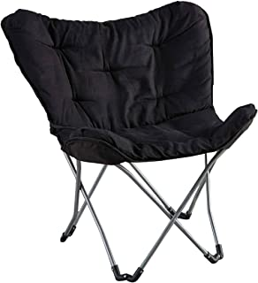 Mainstays Collapsible Butterfly Chair With Soft Microsuede Fabric, Black (1)
