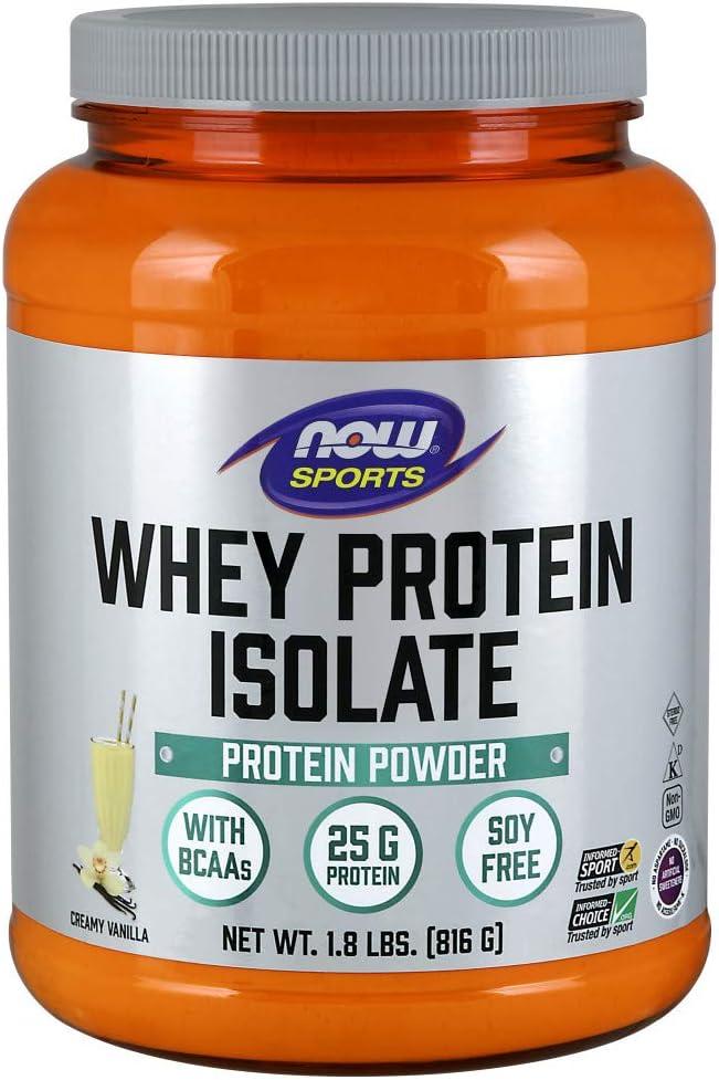 NOW Sports Nutrition, Whey Protein Isolate, 25 G With BCAAs, Creamy Vanilla Powder, 1.8-Pound