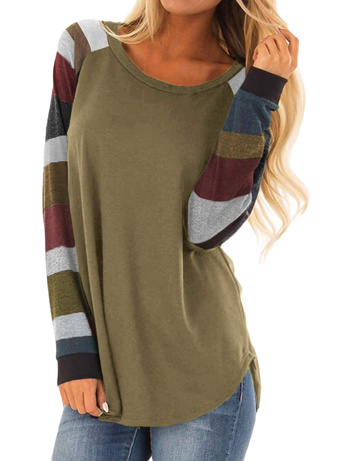 BLENCOT Womens Juniors Cute Contrast Color Long Sleeve Crewneck Tunic Tops Blouse and Shirts Coffee Small
