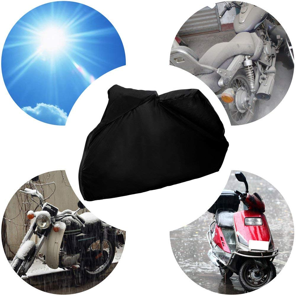 Snow Sun or Dust Black-XL LucaSng 190T Waterproof Polyester Fabric Motorbike Cover Motorcycle Shelter With 2 Lock-Holes against Rain