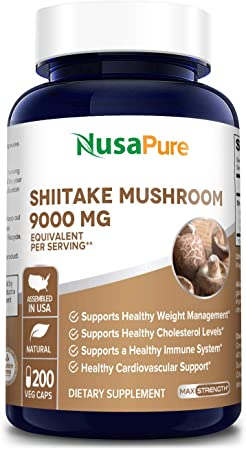 Shiitake Mushroom Extract 9000mg 200 Veggie Capsules (Non-GMO & Gluten-Free) Support for Healthy Weight and Cholesterol Levels in Already Normal Range*. Support for Healthy Immune System*
