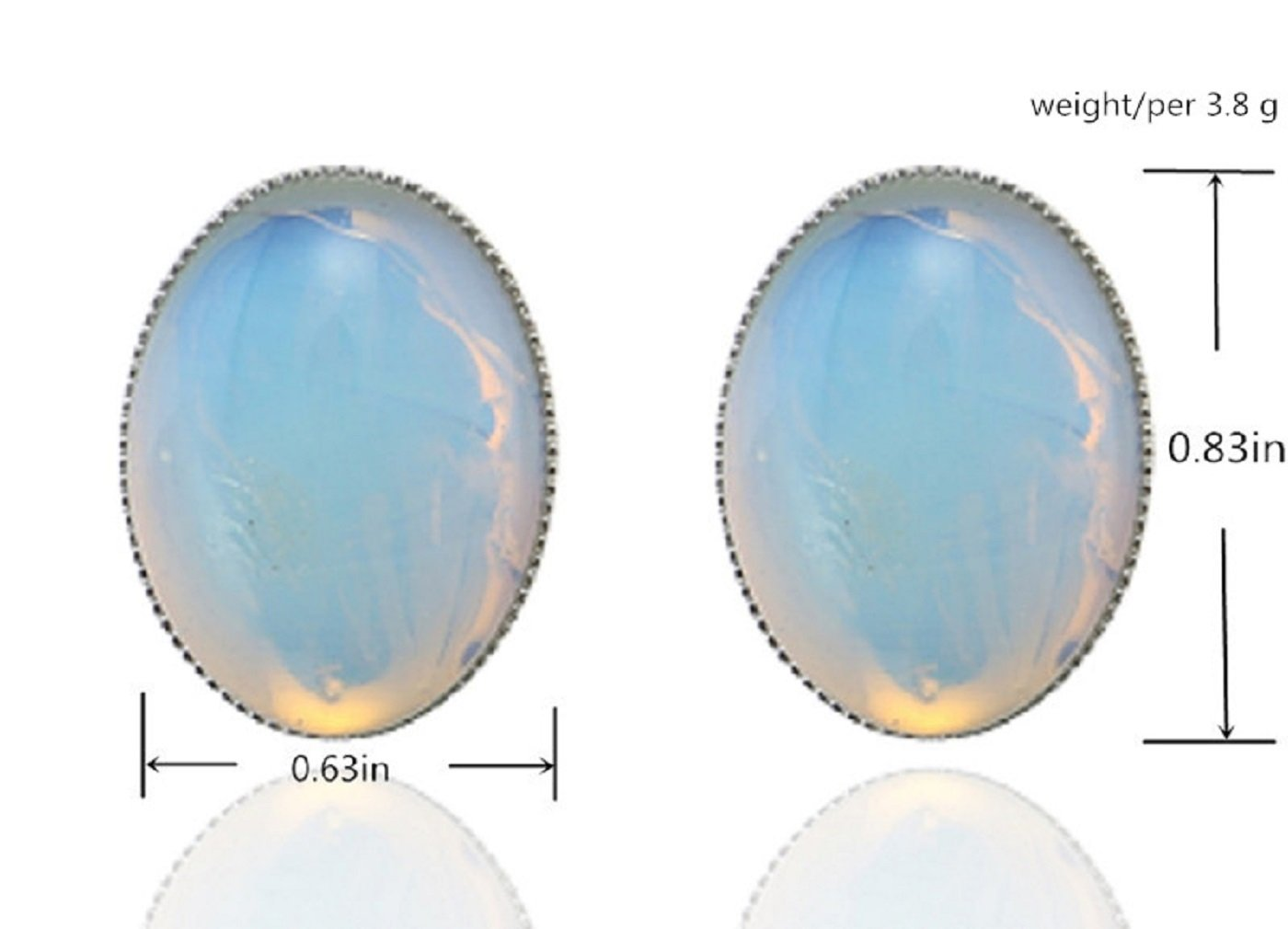 MagicYiMu Women's Jewelry Oval Simulated Opal Clip-On Earrings by MagicYiMu (Image #4)