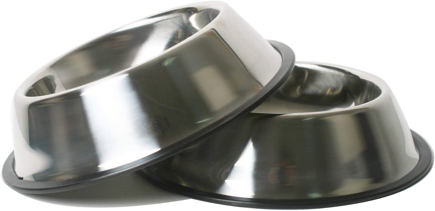 QISHUI Set of 2 Stainless Steel Dog Bowls with Rubber Base, Medium Dogs Bowls, Pets Feeder Bowl and Water Bowl for Dogs and Cats, Perfect Choice 18oz