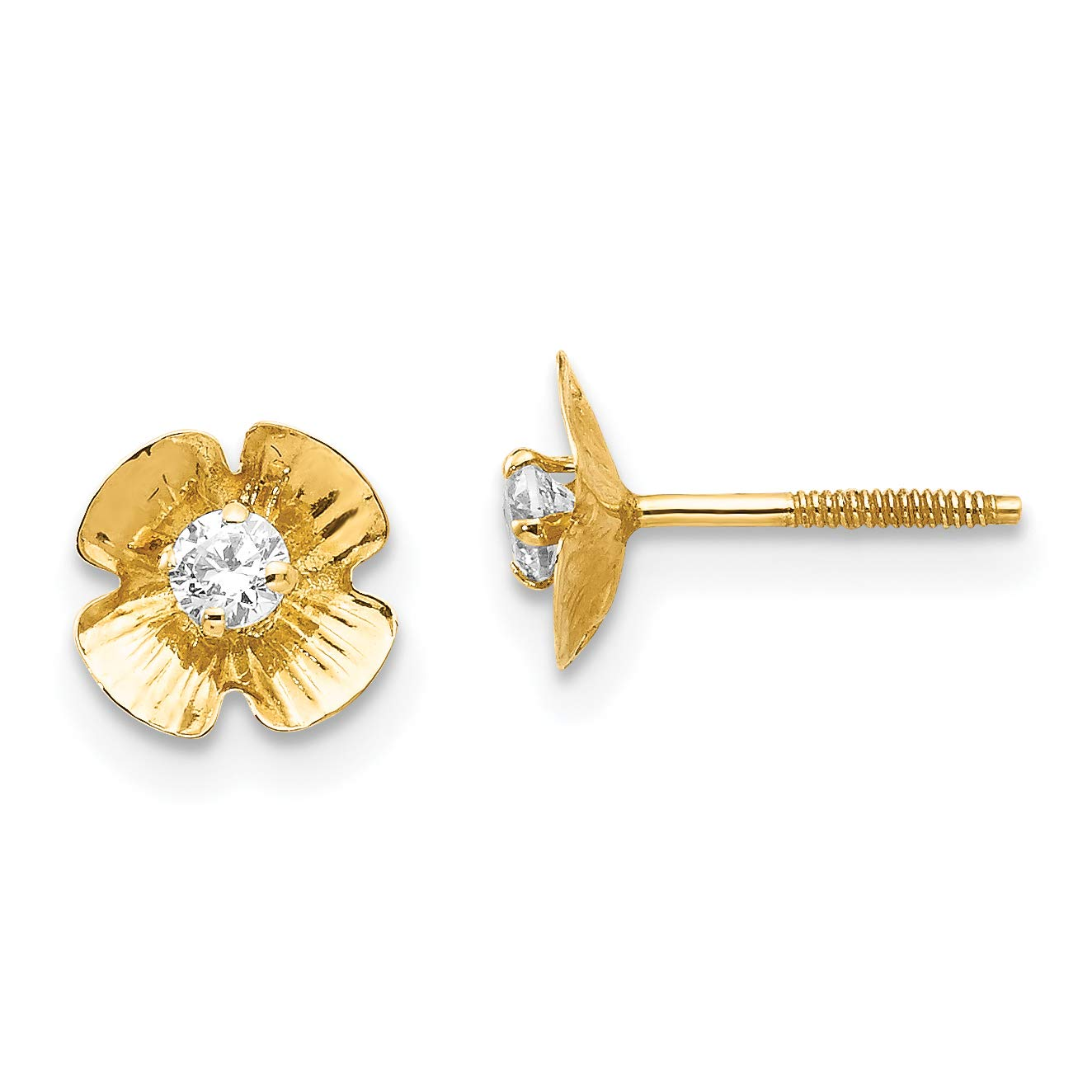 14K Yellow Gold Madi K Childrens 7 MM CZ Flower Post Stud Earrings