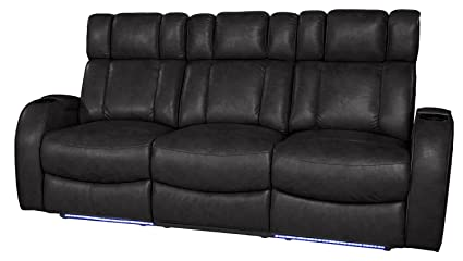 Exceptional Row One RO8071 43H 121G Andromeda Power Sofa Recliner Black, Black Leather  Gel