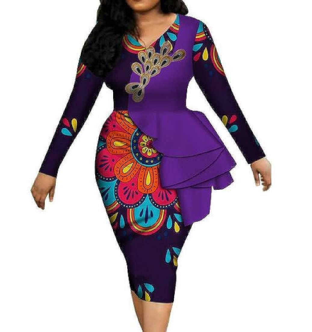 12 CRYYU Women VNeck Ruffle African Print Dashiki Long Sleeve Party Pencil Dress