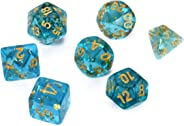 FLASHOWL Transparent Light Blue Dice Set Dungeons and Dragons Dice Polyhedral Game Dice Set D&D Dice Set (7Pieces, Transpare