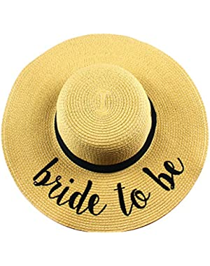 Funky Junque's Women's Bold Cursive Embroidered Adjustable Beach Floppy Sun Hat