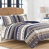 Nautica 217329 Rangley Cotton Pieced Quilt, Twin, Blue