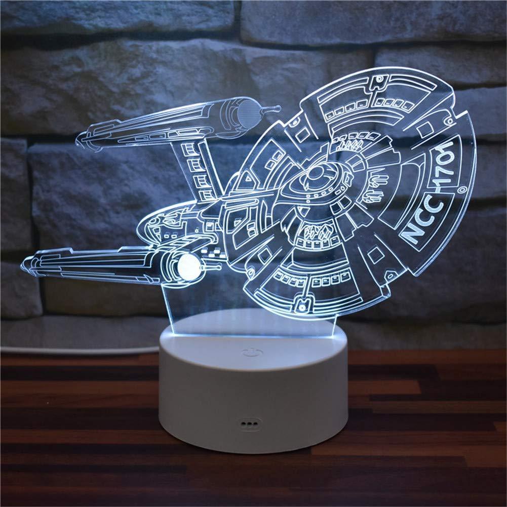3D dekoratives Nachtlicht Star Trek Enterprise Starship NCC-1701 USB 3D Acryl LED Illusion Nachtlicht 16 Farbwechsel Fernbedienung Schreibtischlampe Dekoration Licht Raumdekoration Kinderspielzeug Emo
