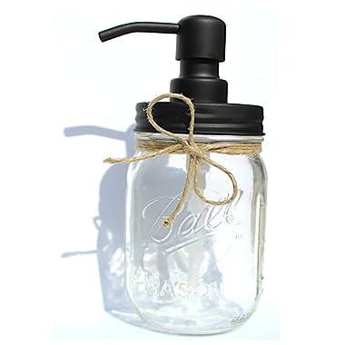 The Southern Jarring Co. Rustproof Stainless Steel Mason Jar Soap Dispenser - Rustic Farmhouse Soap Pump for Mason Jar Decor - Includes Genuine 16oz Ball Mason Jar (Black)