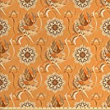 Tan and Brown Fabric by the Yard by Ambesonne, Ornamental Ottoman Garden Pattern with Tulips and Blossoming Flowers, Decorative Fabric for Upholstery and Home Accents, Orange Tan Brown