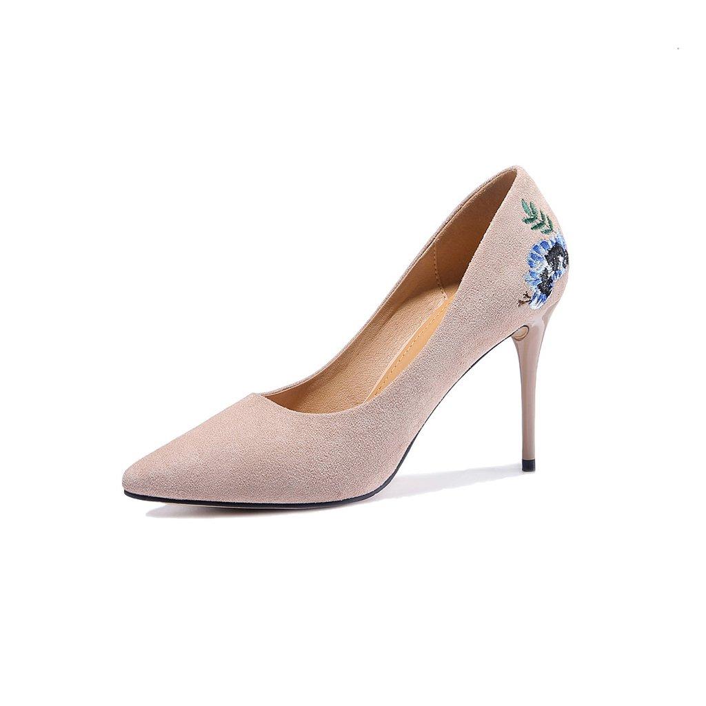 YUBIN YUBIN YUBIN Frühling und Sommer Hochhackige Schuhe Mode Elegant Spitz Fein mit Niedrigen Schuhen Flachen Mund Bestickte Schuhe Wasserdichte Plattform Schuhe (Farbe   Beige, Größe   34) 303cf5