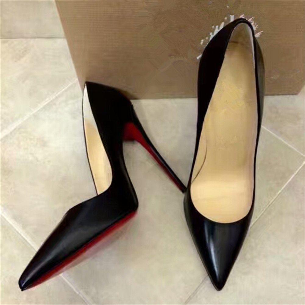 Chris-T Womens Basic Formal Pointed Toe Pumps Basic Womens Shoes High Heel Stilettos Sexy Slip On Dress Shoes Size 4-15 US B075F5PH81 13 B(M) US|Black-matte/Red S0le(bottom) 17b159
