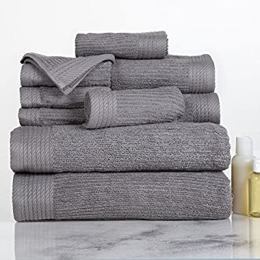 Lavish Home Ribbed 100% Cotton 10 Piece Towel Set - Silver