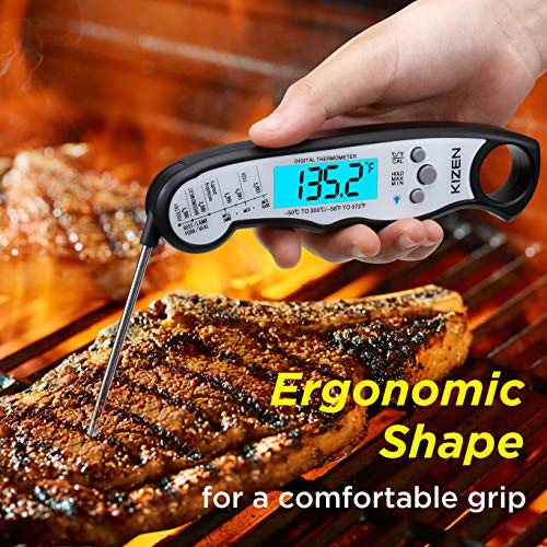 Kizen Instant Read Meat Thermometer Waterproof Ultra Fast Backlight and Calibration for Kitchen Outdoor Cooking BBQ and Grill Jet Black