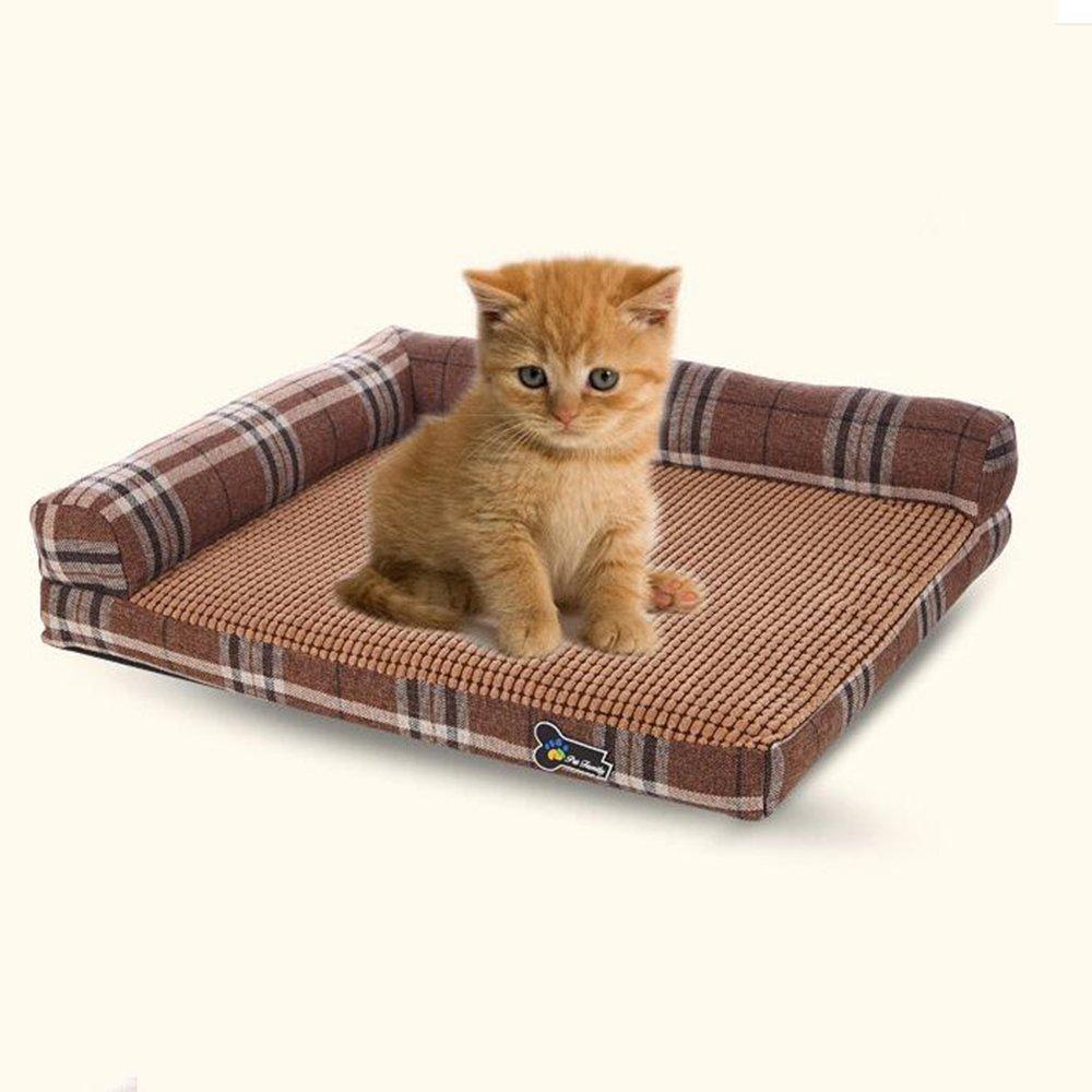 B Desti Flakes Pet Bolster Dog Bed Comfort Cloth Class Washable Square Kennel Cushion pet Sofa (color   B)