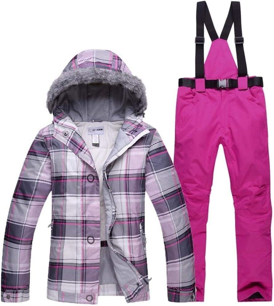 Sceliny 雪の服梨花スキースーツセット屋外スキースノーボードコスチューム熱髪の帽子ジャケット+ビブパンツ女性服 (色 : 13, サイズ : L)  Large