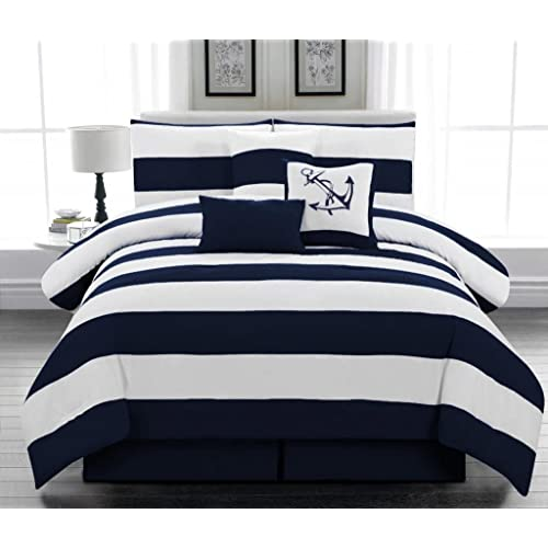 Beau Microfiber Nautical Themed Comforter Set, Navy Blue And White Striped,