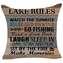 """Retro Wood Grain Background Lake Rules Watch The Sunrise Relax Go Fishing Make Memories Cotton Linen Square Decorative Home Indoor Throw Pillow Case Cushion Cover 18 """"X18 """""""