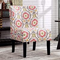 Roundhill Furniture Capa Print Fabric Armless Contemporary Accent Chair, Floral