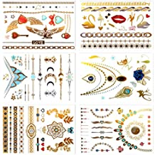 Metallic Temporary Tattoos, PrettyDate 6 Sheets 75+ Designs in Gold Silver Black Sapphire, Fake Glitter Jewelry Tattoos- Bracelets, Necklaces, Wrist, Anklets and Armbands(Jewelry Collection)