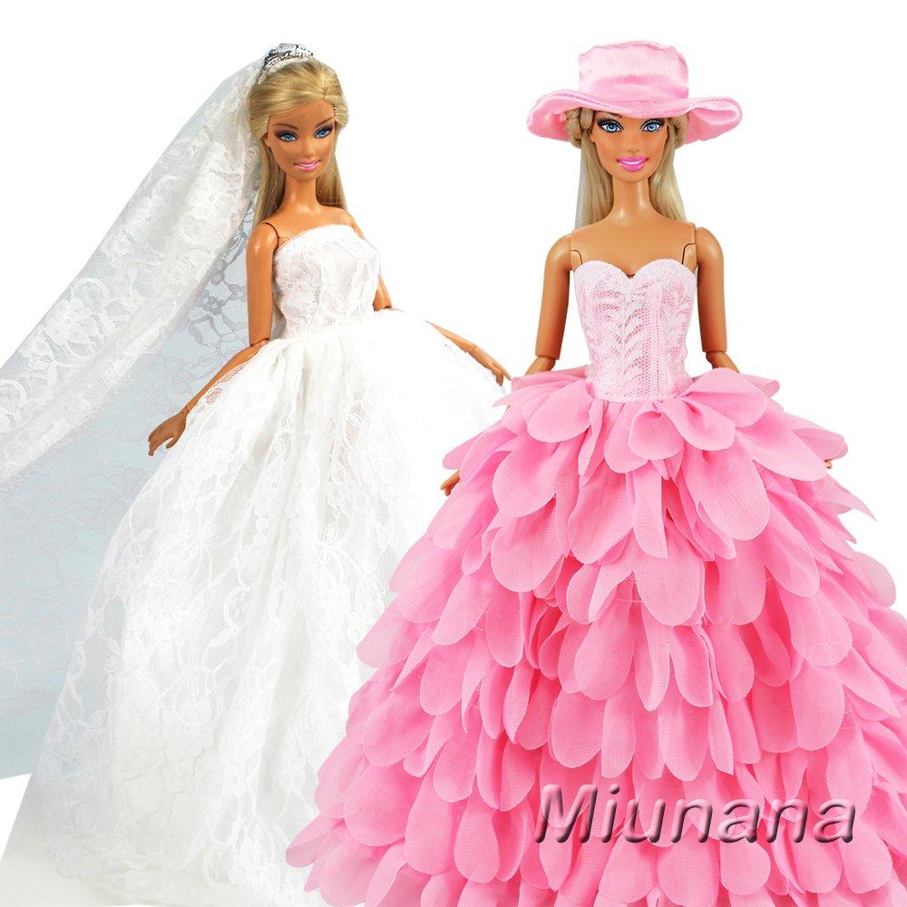 Miunana 2x Trajes de Vestidos Novia Princesa Juegos Ropa Vestir Nupcial Ropa Fiesta Boda para Regalo