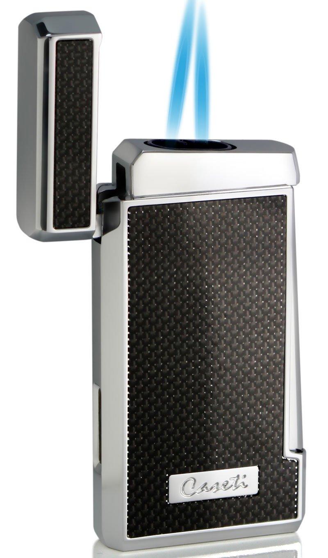 Visol Caseti Tyros Carbon Fiber Double Torch Flame Cigar Lighter