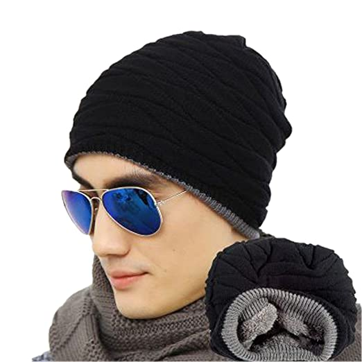 Spikerking Men s Soft Lined Thick Knit Skull Cap Warm Winter Slouchy Beanies  Hat (One size 6c9906eba23