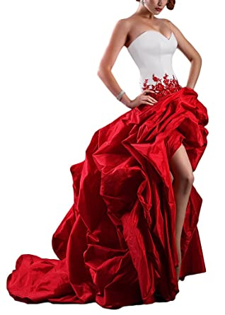 Gotidy High Low Prom Dresses Red Lace Appliques Hi-Lo Evening Party Gowns GO136