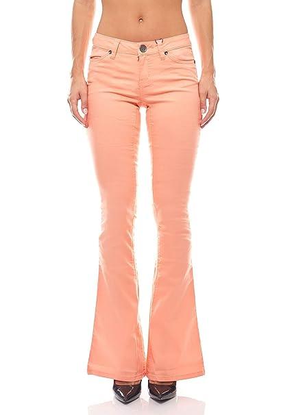 the latest 3936c dbc59 AJC Pantaloni Estivi Bootcut Jeans Donna Peach: Amazon.it ...