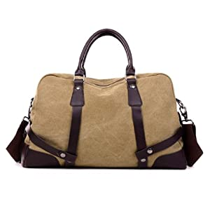 Gillberry Women Canvas Stripe Handbag Shoulder Bag Large Tote Ladies Purse (Khaki)