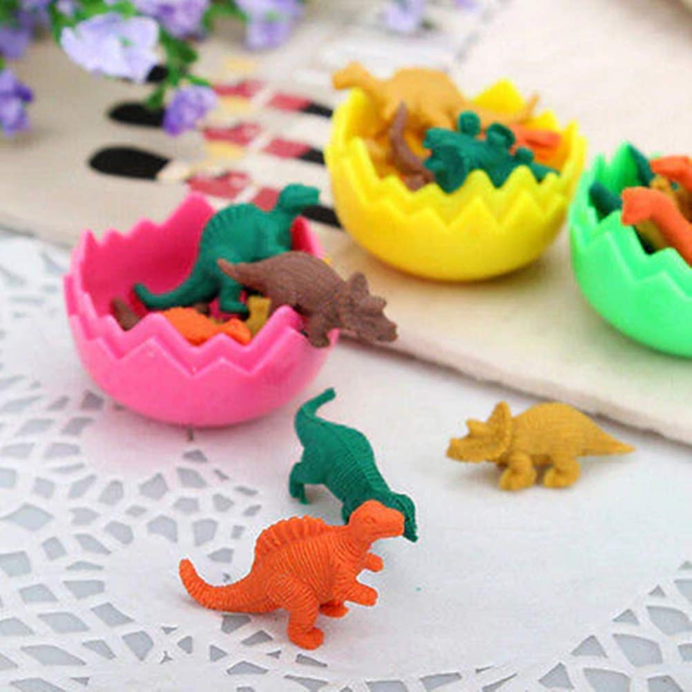 8PCS Novelty Mini Kawaii Dinosaur Egg Pencil Rubber Eraser with Egg Student Gift