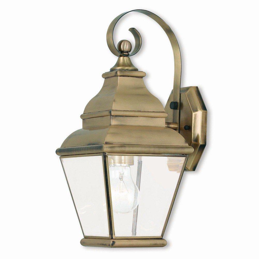 Livex Lighting 2590-01 Exeter 1 Light AB Outdoor Wall Lantern, Antique Brass