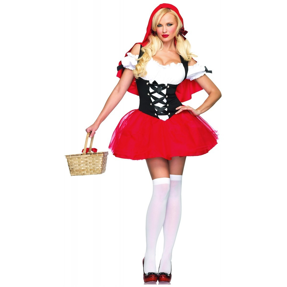 Leg Avenue Women' S Racy Red Riding Hood Tutu Peasant Dress With Attached Hooded Cape Leg Avenue Costumes