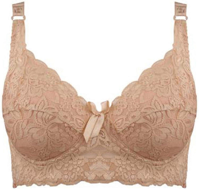 Womens Bra Full Cup Thin Underwear Plus Size Wireless Adjustable Bras,D,38 85 Dark Beige