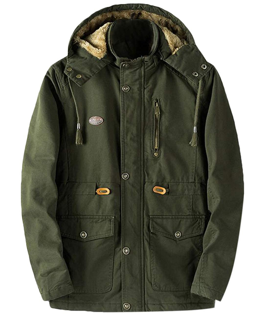 Twcx Mens Winter Fleece Lined Military Cotton Hooded Thicken Outwear Jackets Coats Green XL
