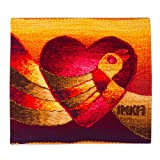 NOVICA Alpaca Wool Animal Themed Tapestry, Red and Yellow, 'Love's Flight'