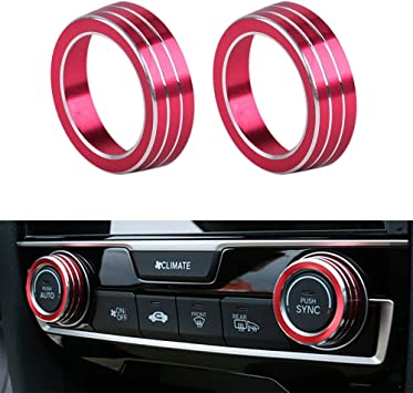 Air Condition Knob Cover Trims Aluminum Alloy AC Switch Fit for 2016 2017 2018 2019 10th Gen Honda Civic