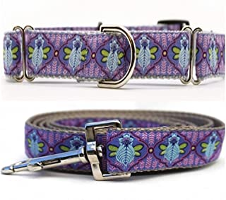 """product image for Diva-Dog 'Queen Bee Blueberry Pie' 1"""" Wide Chainless Martingale Dog Collar, Matching Leash Available"""