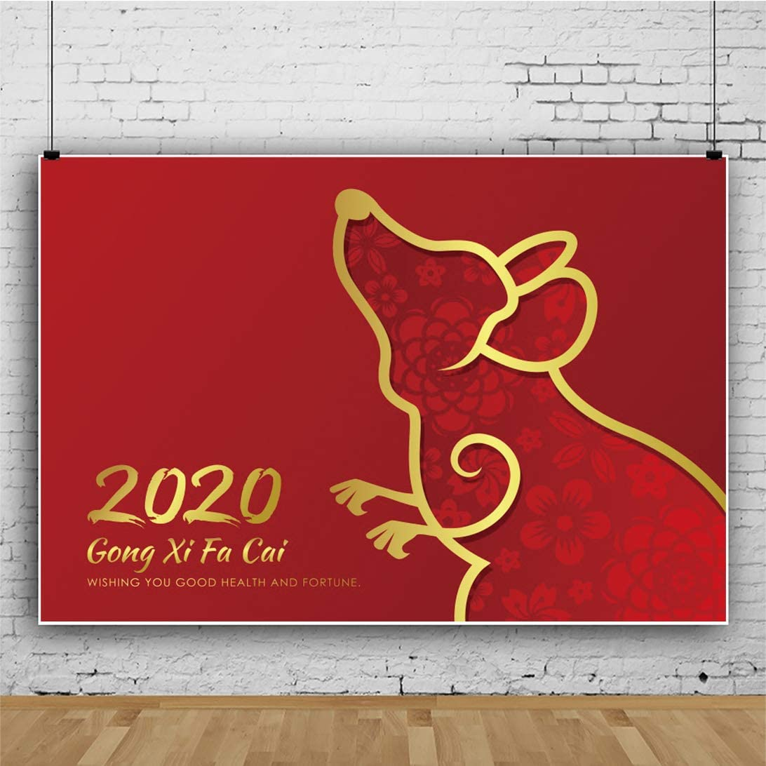 Yeele Chinese New Year 2020 Photography Backdrop 6x4ft Gold Border Line Rat Photos Background Year of The Rat Celebration Events Photo Booth Banner Photoshoot Props Holiday Picture Wallpaper