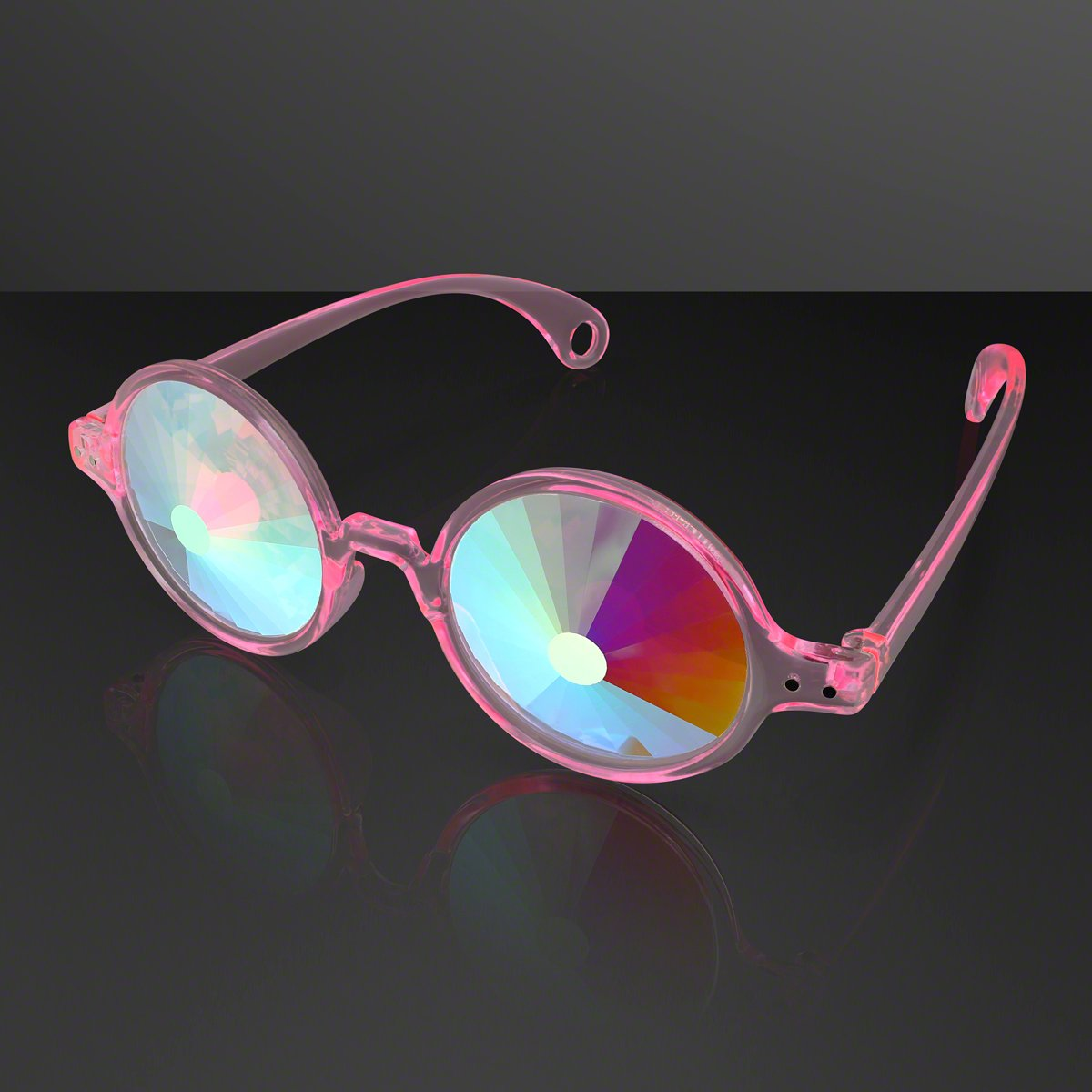 Pink Kaleidoscope Geometric Prism Crystal Lenses Portal Glasses Space Specs (Party Set of 12)