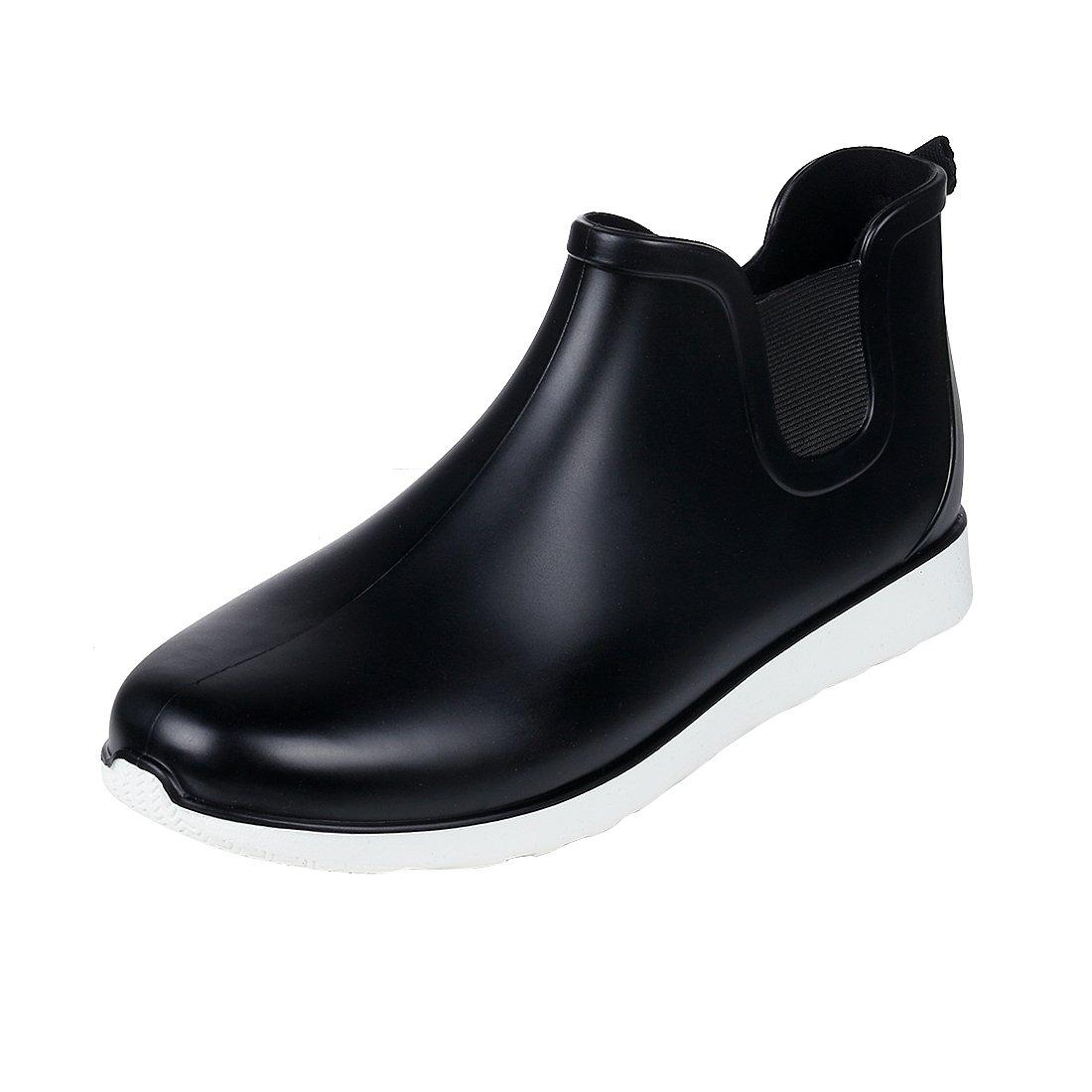 Comwarm Mens Waterproof Anti-Slip Rain Boots Casual Outdoor Sport Short Ankle Slip-on Rain Shoes BK44 Black by Comwarm