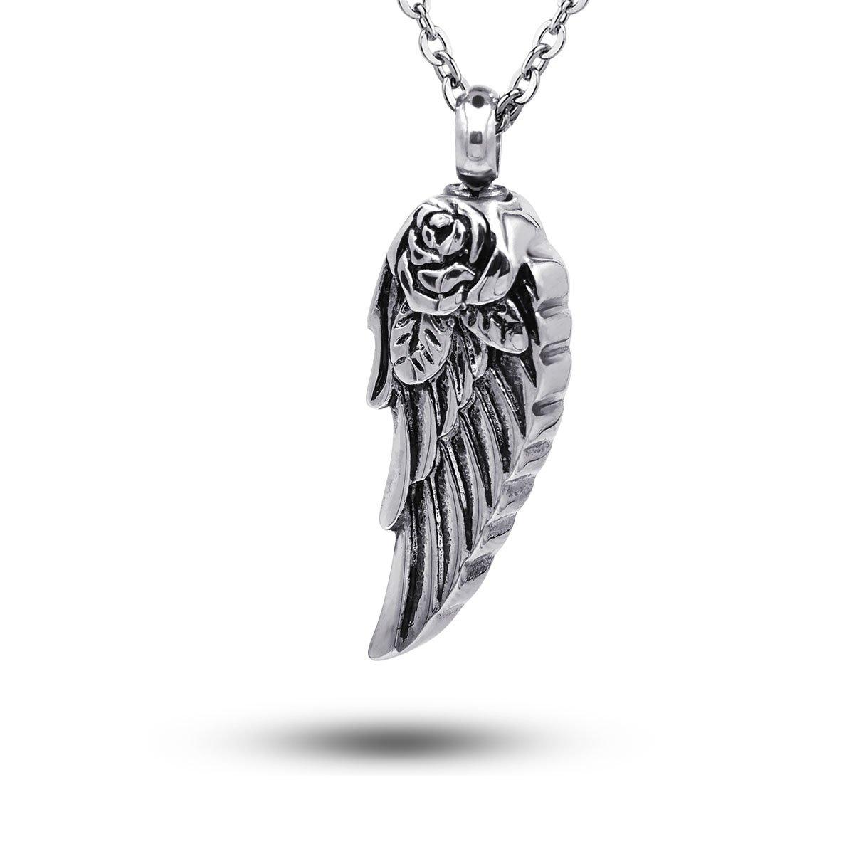 COCO Park Stainless Steel Angel Wing Ash Pendant Cremation Jewelry Urn Necklace Memorial Keepsake