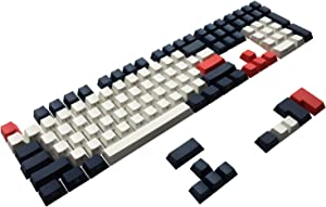 Happy Balls PBT Keycaps Side/Front Print Keycap Set Semi Profile Non-Backlit Thick Cherry MX Key Caps with Key Puller for 60%/87 TKL/104/108 MX Switches Mechanical Keyboard(Navy Blue)
