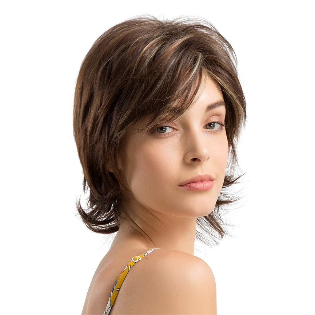 Wig,SUPPION Fashion Women 25cm Brown Short Curly Hair Hairstyle Human Hair Wigs Beautiful and Natural - Cosplay/Party/Costume/Carnival/Masquerade (A)